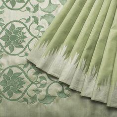 Handwoven Kanjivaram Silk Sari available in Olive Green and Gold Colour Zari.
