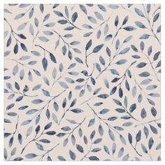 Blue grey watercolor leaves fabric