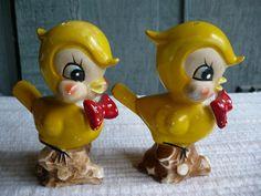 Antique Salt & Pepper Shakers Pair Yellow Chicks 1930's 40's