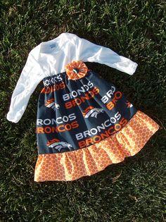 Hand-made Denver Broncos onesie dress. Don't see your team