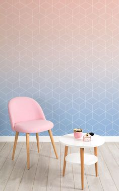On the lookout for girly yet sophisticated wallpapers? Stunning rosy pinks melt into a sky of blue in this tile ombre mural. Style with hints of pink to compliment the look.