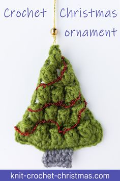 Free tutorial and crochet chart for a Christmas tree shaped ornament. DIY Christmas decor. #freecrochetpattern #christmascrochet #diychristmasdecor #crochettutorials