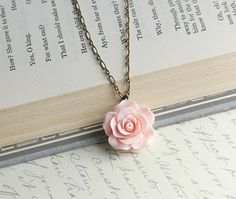 Pink Flower Necklace Pastel Rose Shabby Chic Resin Floral Jewellery Bridesmaids Jewelry Bridal Wedding Botanical Valentines Nature Rose