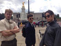Photos of the Parks and Rec cast in London. Chris Pratt, Adam Scott, Aubrey Plaza.