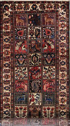 "Bakhtiari Persian Rug - 3' 9"" x 11' 8""  Semi Antique (50-60) Years Old"