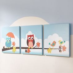 Cover your nursery with the elegance of the owls in the Enchanted Woodland collection. Three piece wall art set is hand crafted and carved from canvas. Beautiful murals decorate their edges with imaginative and inspirational characters.
