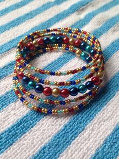 Memory wire beaded bracelet by babsbeadsbazaar on Etsy