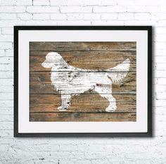 Golden Retriever 3 art illustration print, Golden Retriever painting ,dog illustration, Wall art, Rustic Wood art, Animal silhouette Printed