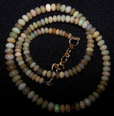 58 Ct Brown Ethiopian Welo Opal Roundelle Beads 4 to 6.5 MM AAA Necklace 16 inch