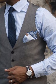 Pocket square in vest