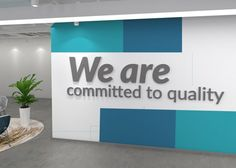 Office Decor Affirmation Quote – We are committed to quality – SKU:EACQ – Office Design 2020 Office Reception Design, Corporate Office Decor, Office Wall Design, Office Paint, Office Branding, Office Wall Decor, Office Walls, Office Interior Design, Office Interiors