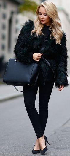 Kissie Black Faux Fur Balmain Jacket Fall Street Style Inspo #Fashionistas