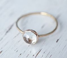 White Topaz Ring, Rose Gold Ring, Rose Cut Ring, Stacking Rings, Yellow Gold Ring, Engagement Ring, Stackable Ring, Delicate Gold Ring