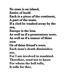 for whom the bell tolls poem meaning
