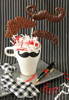 Chocolate Mustache Pops - recipe at SugarHero.com