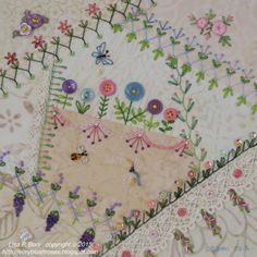 I ❤ crazy quilting, beading & ribbon embroidery . . .  Crazy quilted, Summer Garden details ~By Lisa Plooster Boni, ivoryblushroses