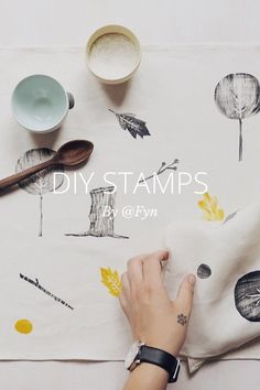 By @Fyn DIY STAMPS S U P P L I E S • Marker/Sharpie • Piece of Linoleum • Lino carving tools • Stanley knife • Plywood • PVA glue • Ink Pad / Paint • Paintbrush Using a black marker draw your design in reverse onto your piece of linoleum. If you design