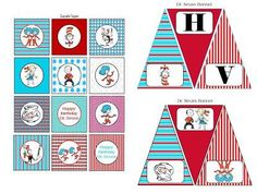 Scrap N Teach: Dr. Seuss Happy Birthday Banner and Cupcake toppers Dr Seuss Birthday Party, 3rd Birthday Parties, Happy Birthday Banners, Birthday Ideas, Blue Birthday, Farm Birthday, 1st Birthdays, Dr Seuss Activities, Birthday Activities