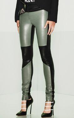 Boyish Color-block: Black + sage green leather tight pants. Prabal GurungResort 2015 #Colorblock #fashion #details