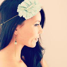 boucles doreille vert deau et bronze laiton perles de cristal