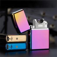 USB Leichter Elektronische Zigarettenanzünder Pulsed Arc Leichter Winddicht Metall Zigarette Plasma Flammenlose Zigarettenanzünder 10 farben