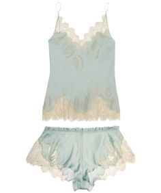 Carine Gilson Florence Lace-Trimmed Silk-Satin Camisole ($735.00) and Shorts ($405.00) in Dusty Blue I Bedroom Barre: Ballet-Inspired Lingerie & Loungewear Fit For a Fairytale