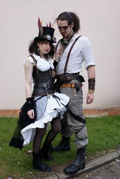 Steampunk - I like her underbust leather corset. Steampunk Costume, Steampunk Clothing, Steampunk Fashion, Steampunk Wedding, Victorian Steampunk, Steampunk Men, Neo Victorian, Gothic, Leather Corset