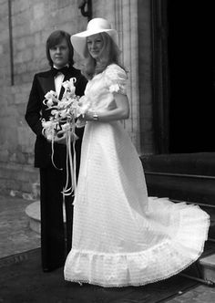 Wedding in Brussels. 25 June 1975. LOOK THE WINGS (AND THEY DEFINITELY ARE WINGS IN THIS CASE) ON THAT JACKET.