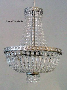 From 300 year old danish company C.E Fritszche - Made-to-order Empire style chandelier. Real crystal. Either in the 40 or 50 cm width. WIth brass fixings.
