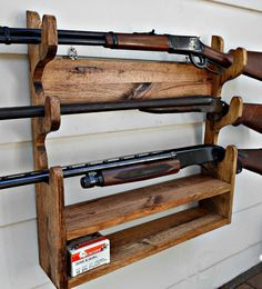 Gun Rack Solid Oak holds 3 Guns with shelf by RobsRusticCreations $99.00