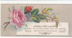 Sing Ye to The Lord Pink Rose Religious Victorian Card C 1880s | eBay