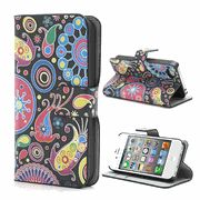 Colorful Flower Ribbon Leather Stand Wallet Case