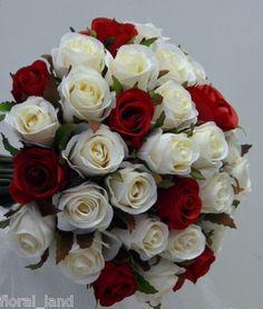 Silk Wedding Bouquet Artificial Weddings Ivory Cream Red Posy Flower Rose Roses