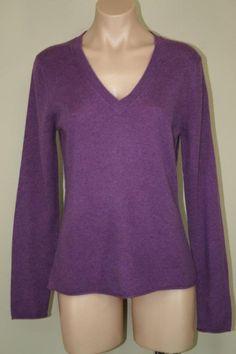 NEW Fenn Wright Manson 100% 2 - Ply Cashmere Purple V-neck Sweater Jumper sz M #FennWrightManson #VNeck