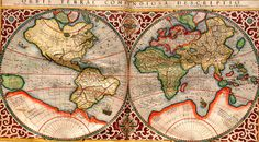 This very decorative world map, with Antarctica, as well as parts of North America, still absent, was produced in Amsterdam in 1689  Read more at http://www.darkroastedblend.com/2009/08/unusual-and-marvelous-maps.html#PjsIG62ubst42bdB.99