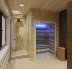 Interior of a wooden house Steam Room Shower, Sauna Steam Room, Sauna Room, Piscina Interior, Spa Interior, Bathroom Interior, Home Spa Room, Spa Rooms, Bathroom Spa