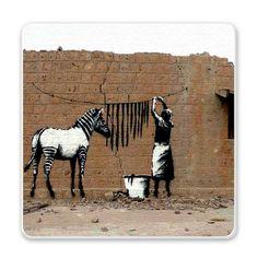 Banksy, Saga de zebras que incluye grafittis cuadros, y arte plástico.