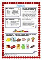 A simple vocabulary practice on foods. Students read the description of the foods and write them down. Then they match the descriptions with the correct pictures. Greyscale and key are included. - ESL worksheets