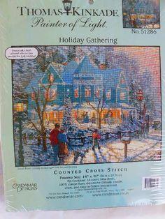CANDAMAR DESIGNS THOMAS KINKADE HOLIDAY GATHERING Counted Cross Stitch Kit#51286
