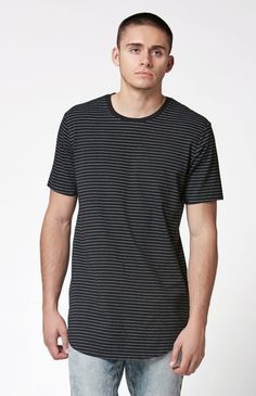 6b82eec6a PacSun Sapling Striped Extended Length Scallop T-Shirt at PacSun.com