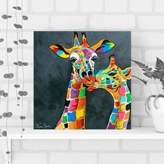 Get Steven Brown's giraffe painting 'Francie & Josie McZoo' on canvas, cushions and a range of homeware and gift items. Giraffe Painting, Giraffe Art, Small Canvas, Mini Canvas, Steven Brown Art, Empty Wall Spaces, Cute Cartoon Pictures, Cool Paintings, Canvas Art Prints