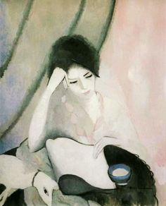 purisme ∞ marie laurencin . la liseuse I9I3 (paris I883 † paris I956) the reader portrait figuratif palette gris rose pink grey peinture painting