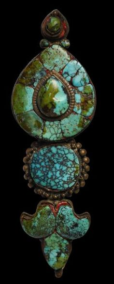 Woman's Single Turquoise & Copper Ear Ornament (Akor), Lhasa, Tibet, 19th century or earlier.