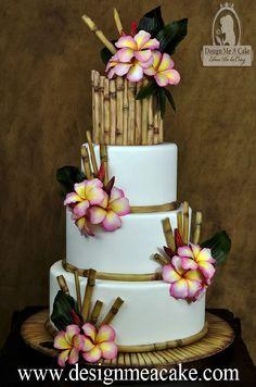 Check out http://designmeacake.com! Beautiful Cake design using Gumpaste Bamboo, gumpaste plumeria flowers and tropical leaves. Design by Edna De la Cruz from Design Me a Cake