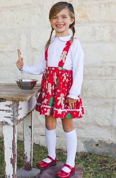 373da6ac3588 Be ready to deliver cookies to Santa in our gingerbread print suspender  skirt and peter pan