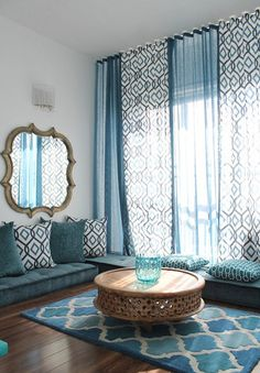 Elegant loloi in Living Room Mediterranean with Prayer Room next to Blue Living Room alongside Floor Seating and Arabic Interior Design Moroccan Interiors, Mediterranean Living Rooms, Room Interior, Floor Seating, Home Decor, Living Room Interior, House Interior, Interior Design, Living Decor