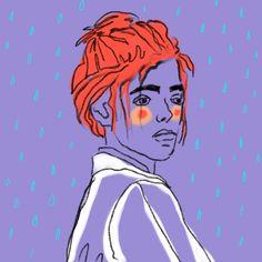 #scribble #drawing #rain #violet #raindrops #red #sketch #digitalart #woman