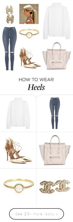 """gold heels"" by xoemmaaoxx on Polyvore featuring Vanessa Bruno, Aquazzura, Topshop, Irene Neuwirth and Chanel"