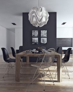 Apartment, White Unique Chandelier Brown Yellowish Wooden Dining Table Black…