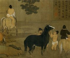 Чжао Мэнфу. Купание коней. сер. 1290х, Гугун, Пекин. деталь свитка